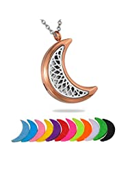 HooAMI Crescent Moon Stainless Steel Aromatherapy Essential Oil Diffuser Necklace Locket Pendant