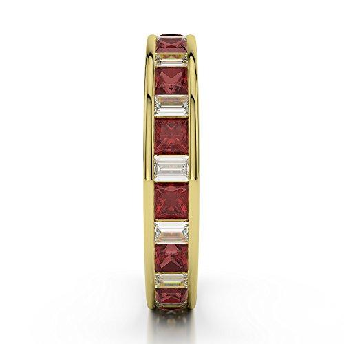 Or jaune 18carats 3/4ct G-H/VS Certifié Princesse et baguette Cut Grenat et diamant éternité Bague Agdr-1141