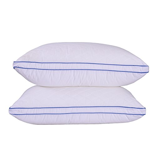 - Sfoothome Quilted Pillow - Hotel Quality Plush Gel Fiber Filled Pillow with A Quilted Cotton Cover, Bed Pillows for Side and Back Sleeper, Standard Pillow (2 Pack)