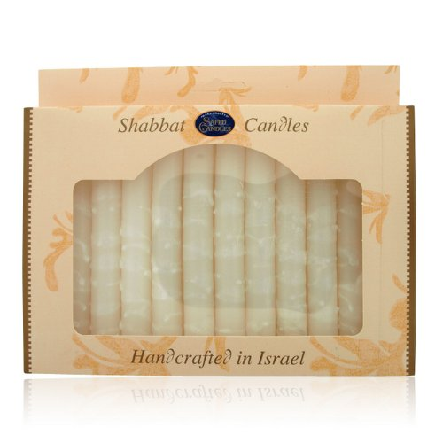 - World Of Judaica Safed Candles Shabbat Candle Set in White with Dripped Lines