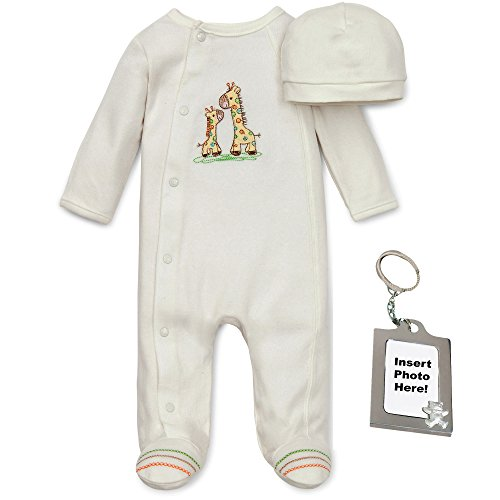 Little Me Giraffe Unisex Footed Pajamas Cotton Hat and Keychain 3 Mths Ivory (Cotton Pajamas Little Me)