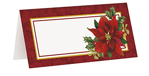 Holly Poinsettia Holiday Place Cards