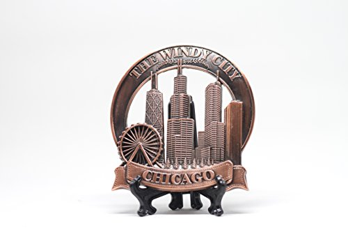 All Things Chicago City of Chicago Popular Attractions Souvenir for Table or Desk Display(Metal - 4 in x 4 in)