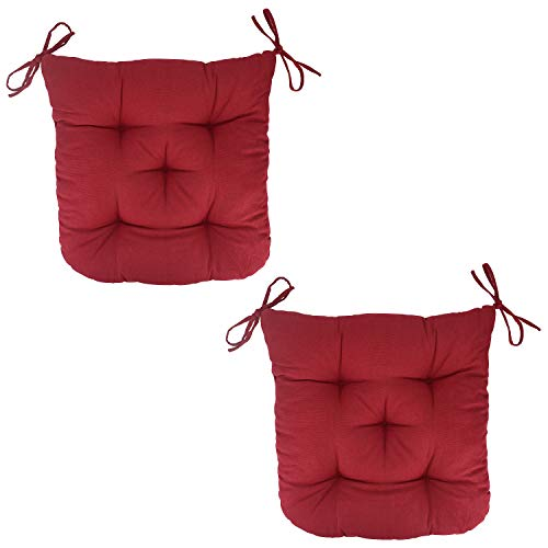 FlyGulls Patio Chair Cushions Set of 2 with Ties Cotton Padded Chair Pads for Dinning Office Chair (Burgundy) (Where Buy Rocking Chair Cushions To)
