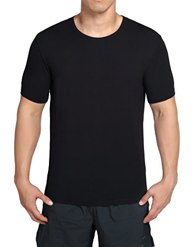 (worboo Bamboo T-Shirt for Men, Breathable Soft Plain Men's Undershirts - Crew Neck (Small,Black))