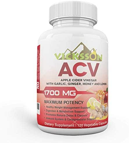 Vicksson Apple Cider Vinegar Pills 1700 mg of ACV with Garlic, Ginger, Lemon & Honey for Weight, Detox, Cleanse, Appetite, Metabolism & Immune Support, Bloating Relief | 120 Capsules