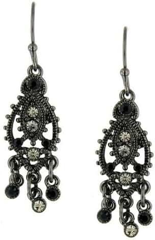 1928 Jewelry Moroccan Black Diamond Earrings