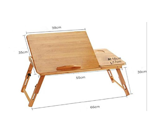 GAOJIAN College students learn laptops table Natural Bamboo Laptop Table Desk Adjustable Height Folding Table Computer Desk by GAOJIAN (Image #1)