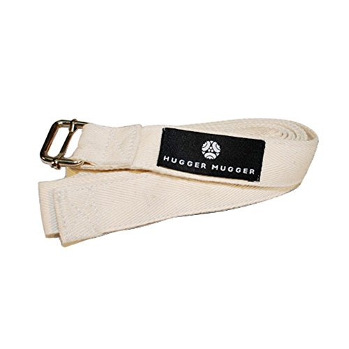 8' India Yoga Strap with Metal Buckle - Natural 1.5 Inch Wide
