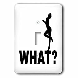 3dRose Alexis Design - Funny - Beautiful lady stands on a word What. Funny, romantic on white - Light Switch Covers - single toggle switch (lsp_271551_1)