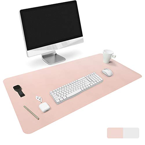 HOMECAS Desk Pad PU Leather Mouse Mat Blotter Pad Protector for Office & Home Desk, Thin Dual-Sided Larger Desk Cover (35