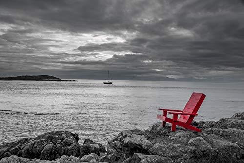 赤い椅子は黒と白の海の景色の写真を描いています。 A-90775 24 x 36 Signed Art Print LANT-90775-710 B07KJFM2SZ  24 x 36 Signed Art Print