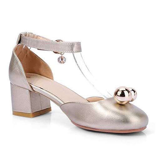 Heel Gold Gold Heels Comfort Black Silver PU ZHZNVX Shoes Spring Women's Polyurethane Chunky A78qw7