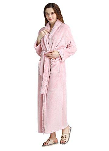 Women's Long Flannel Bathrobe Ultra Soft Plush Microfiber Fleece Robes (S/M, Pink)