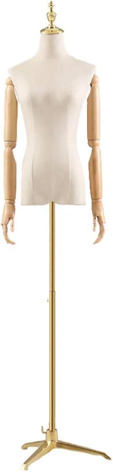 Maniqui Costura Modista Busto Torso de Maniquí con Forma de Vestido Femenino con Brazos de Madera, Medio Torso de Maniquí de Altura Ajustable con Trípode para Chaquetas (Color : Style1, Size : S)