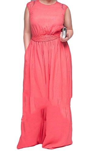 Elegante Di Pizzo Solidi donne Occidentale 5xl Lunghezza Oversize Rosa Vestito Senza Maniche Metà Coolred q8ant