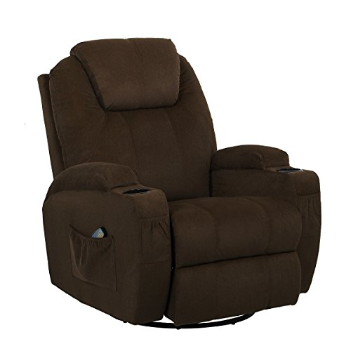 Esright Coffee Fabric Massage Recliner Chair 360 Degree Swivel Heated Ergonomic Lounge