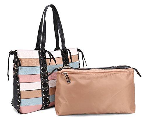 Multi Handbag Color Pink (Women Purses and Handbags Larger Shoulder Bag Top Handle Satchel Tote Hobo Bags For Women Lady Multicolor DIY Taping Design (L,Pink Blue))