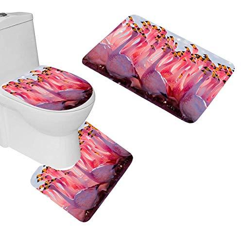 NEWcoco AGILFROT Design Soft Bath Mat Rug Set 3 Piece Beautiful Pink Flamingo Birds Wallpaper Non Slip Bathroom Rug Large Contour Mat with Lid Cover Home Floor Decor