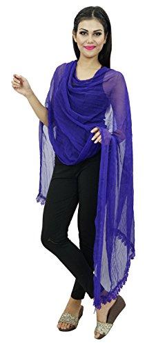 Longueue Soie Chunni Foulards Mousseline Entourage Étole En De Bleu Femmes Dupatta Indienne OrOtqHw