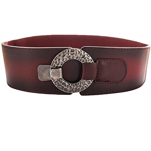 Cityelf Women's Genuine Cowhide Leather Fashion Belt With Alloy Buckle PDW0062 darkred (Horsebit Buckle Belt)
