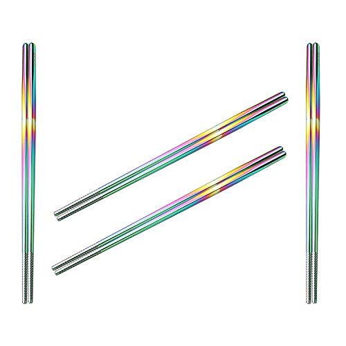 Rainbow Chopsticks,304 Stainless steel chopsticksl metal chopsticks polished muticolor reusable chopsticks