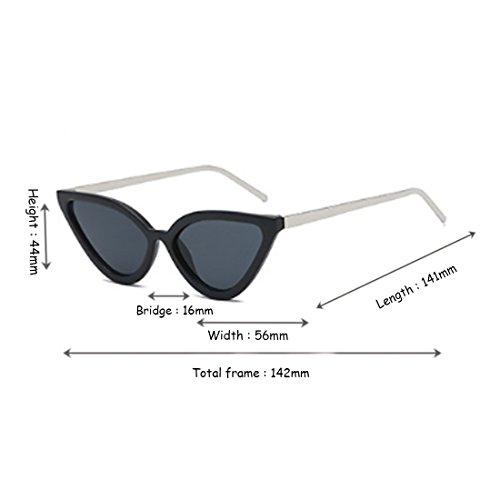 Yefree Gafas Retro Vintage mujer Gafas Cat para Gafas Negro de Gris sol Plata sol Eye de fXfwnFqr