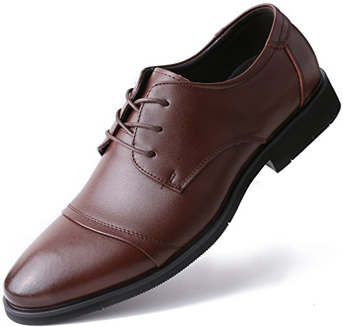 Marino Oxford Dress Shoes for Men - Formal Leather Mens Shoes - Brown - Cap-Toe - 7 D(M) US