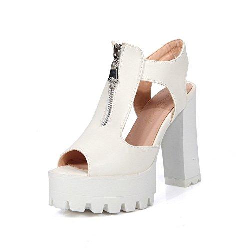 AllhqFashion Women's High Heels Peep Toe Zipper Solid Sandals White Nb4abNSfK