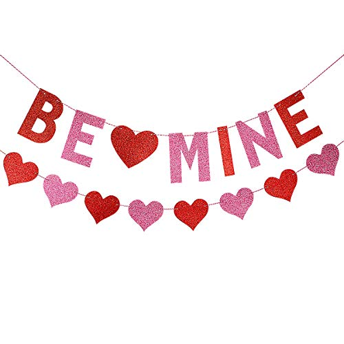 Glittery Be Mine Banner with Heart Garland,Valentine's Day Party Wedding Party Home Decoration Supplies -