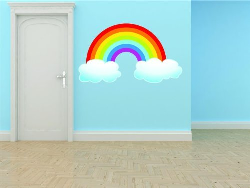 PRESCHOOL CLASSROOM Rainbow With Clouds Outdoor Scene Boy...