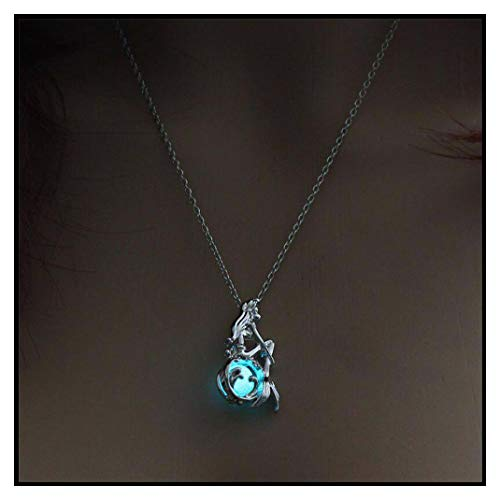 Jewelry with Glow in The Dark Necklace Silver Color Mermaid Pendant Locket Pendant Luminous Stone Neklace for Unisex 1