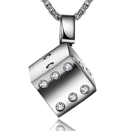 - WELRDFG Jewelry Men's Stainless Steel/Gun Black Dice Pendant Necklace (J. dice Pendant, Stainless Steel)