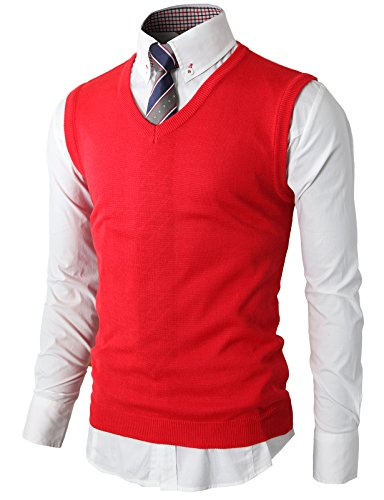 H2H Mens Simple Slim Fit Arm Openings Knit Vests RED US XL/Asia 2XL (KMOV050)