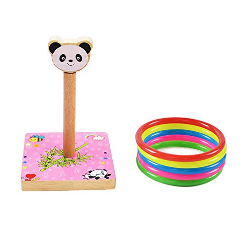 Ring Toss Game Set for Kids, Wooden Parent-Child Family Fun Loop Throw Toys for Children Adults/Indoor & Outdoor Animal Quoits Games with 5 Plastic Rings - Panda