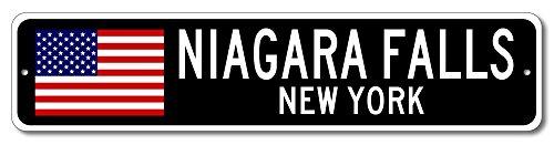 NIAGARA FALLS, NEW YORK USA City Flag Sign Aluminum Patriotic Sign - - Falls Gift Usa Shop Niagara