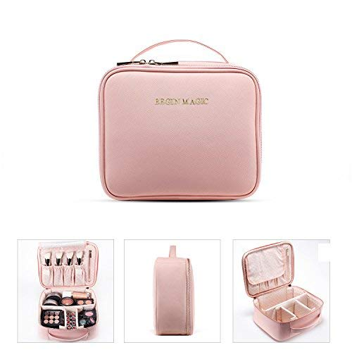 BEGIN MAGIC Travel Makeup Train Case Professional Makeup Bag Organizer Small Portable Cosmetic Organizer Case with Dividers Brush Holder- ()