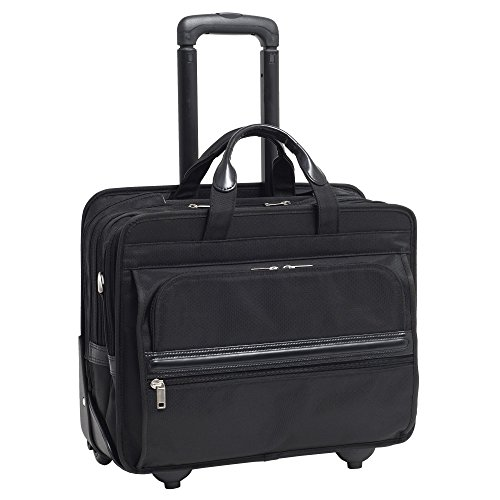 McKleinUSA Franklin 56445 Black Nylon 17 Detachable-Wheeled Laptop Case US Patent # 6,595,334 ()