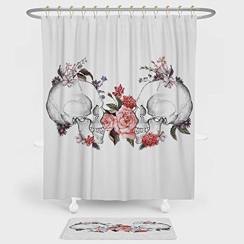 Gothic Decor Shower Curtain And Floor Mat Combination Set Roses and Skull Feast of All Saints Catholic Tradition Illustration Art Print For decoration and daily use by iPrint