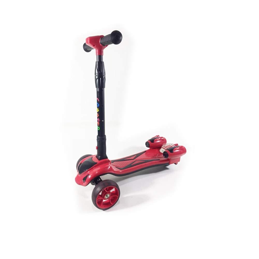 Hkkint 男性と女性のために適した子供の三輪フラッシュスクーターに適して、折りたたむことができる、持ち運びが簡単、新しいスクーター ( Color : 赤 )