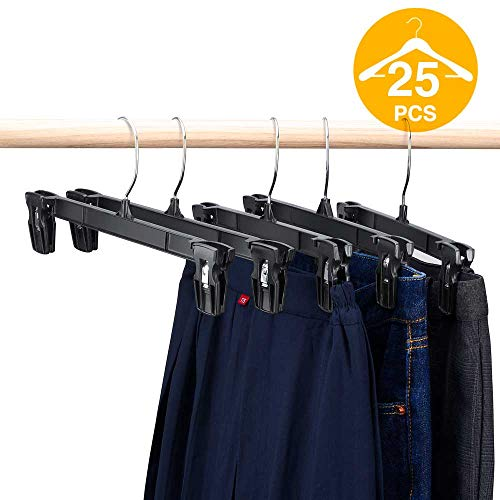 (HOUSE DAY Pants Hangers 25 Pcs 12inch Black Plastic Skirt Hangers with Non-Slip Big Clips and 360 Swivel Hook, Durable Sturdy Plastic, Space-Saving Shape, Elegant for Closet)