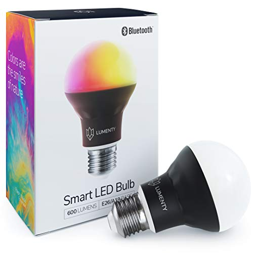 Smart Light Bulb : Bluetooth Smart Bulb No Hub Required Music Synch, App Controlled, Party Lights, Dimmable Night Light for Mood Lighting Multicolor Light Bulb, Smart Bulb by LUMENTY ()