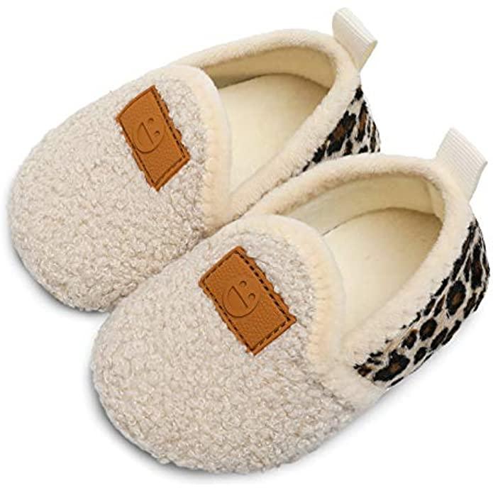 L-RUN Toddler Boys Girls House Slippers Indoor Home Shoes Warm Socks for Kids
