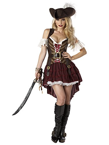 California Costumes Sexy Swashbuckler Pirate Set, Burgundy, X-Large
