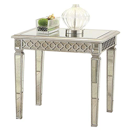 Inlayed Top - Benzara BM185327 Modern End Table with Mirror Inlayed Top, Silver