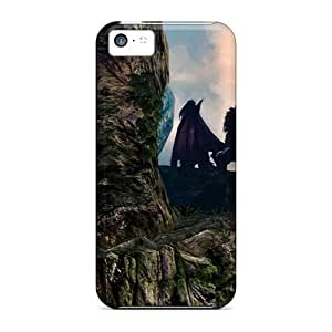 Iphone 5c Cases Covers - Slim Fit Tpu Protector Shock Absorbent Cases (dark Souls Dragon)