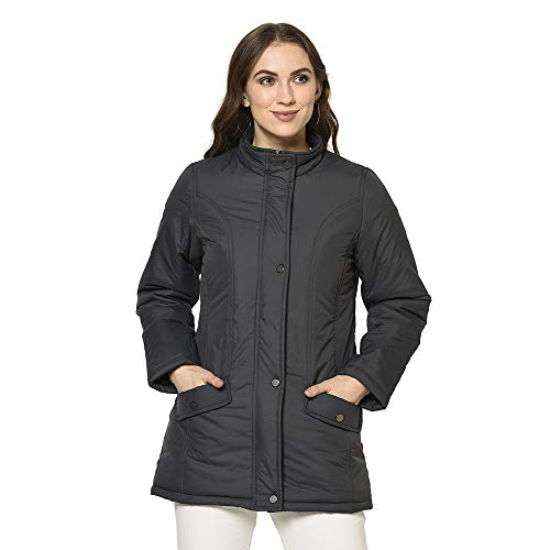 Trufit Women #39;s Solid Full Sleeve Quilted Jacket