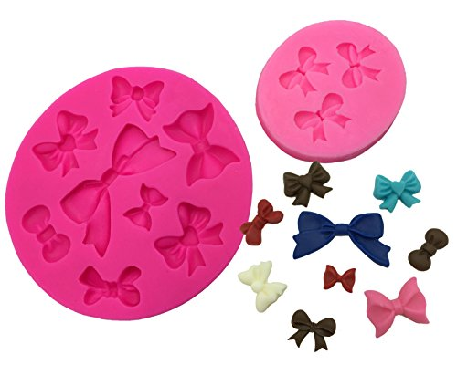 Okallo Products Set of 2 Bow Molds for Candy Cake Decorations - Silicone Ribbon (Cupcake Decoration Mold)