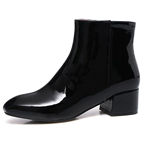 Block Toe Ankle Seven Black Nine Handmade Elegant Leather Women's Patent Boot Heel Square wRxTfFq