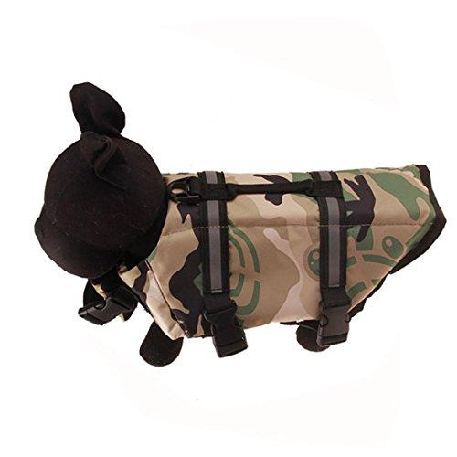 Jeeke Dog Life Jackert, Float Pet Dog Swimwear Safety Reflective Vest Pet Life Preserver (Gray, S)